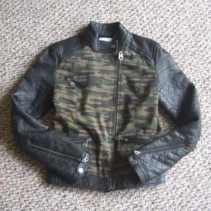 Doma camouflage canvas leather combo jacket XS